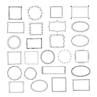Gekritzelrahmen. quadratische grenzen skizzieren linien handgezeichnete runde bild leeren rahmen vintage set