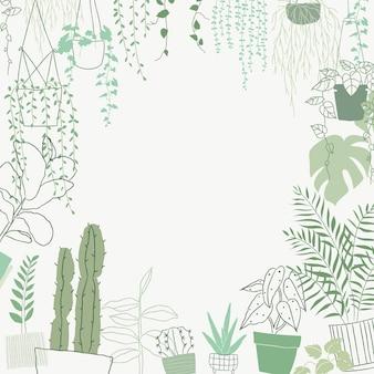 Gekritzelrahmenvektor der grünen pflanze