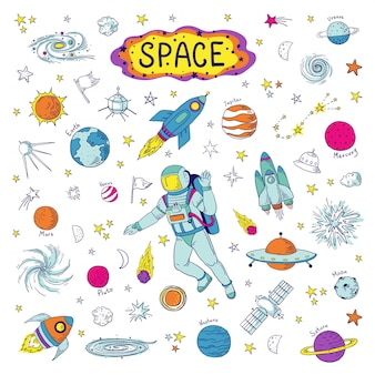 Gekritzelraum. kosmos trendiges kindermuster, handgezeichnete raketen-ufo-universum-meteorplaneten-grafikelemente. astronomie-skizze raumschiff illustrationssatz