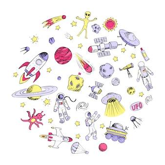 Gekritzelraumobjekte. astronaut, außerirdischer, galaxie, raumschiff, raumfahrer.