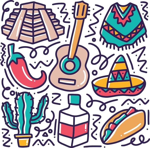 Gekritzelsatz der mexikanischen feiertagshandzeichnung mit ikonen und gestaltungselementen