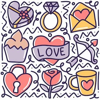 Gekritzelsatz der valentinstag-handzeichnung mit ikonen und gestaltungselementen