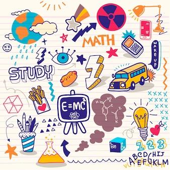 Gekritzelschulikonen und -symbole. hand gezeichnete lernobjekte