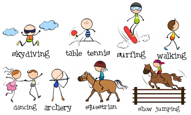 Gekritzelt verschiedene sportarten