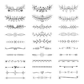 Gekritzelteiler. hand gezeichnete linie grenzen und lorbeeren, dekorative dekorative rahmen, natur blumenpfeil skizze. teilerset