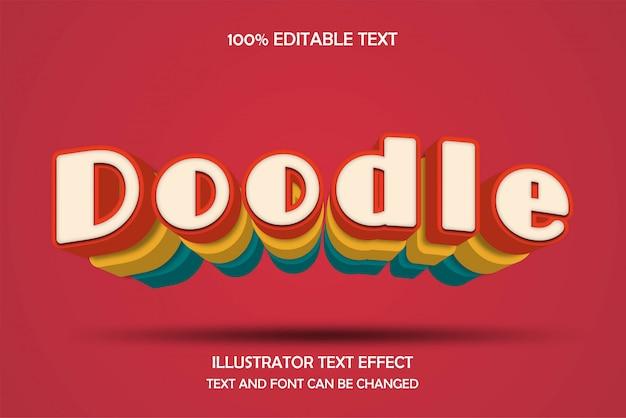 Gekritzelter, bearbeitbarer texteffekt im modernen schatten-comic-ebenen-stil