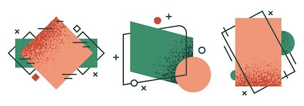 Gekritzeltextur formt abstrakte moderne geometrische sprachrahmen dynamische farbige sprachelemente