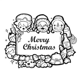 Gekritzelweihnachtshandzeichnung lokalisiert auf weißem hintergrund mit text.