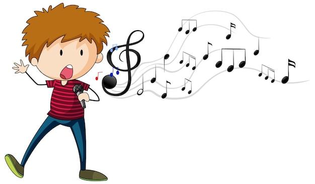 Gekritzelzeichentrickfilm-figur eines sängerjungen, der mit musikalischen melodiesymbolen singt
