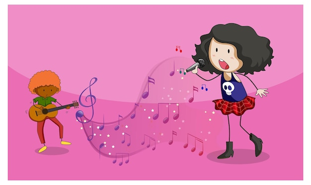 Gekritzelzeichentrickfilm-figur eines sängermädchens, das mit musikalischen melodiesymbolen singt