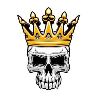 Gekröntes königschädelsymbol des gruseligen menschlichen schädels mit königlicher goldkrone.
