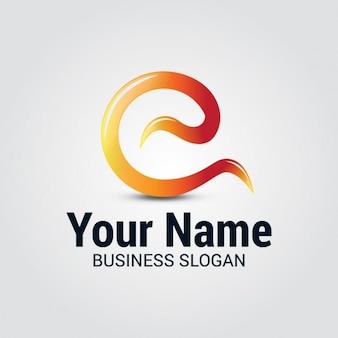 Gekrümmte wellen letter e logo