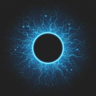 Geladen mit energie elementarteilchen elektrischen rahmen blitz atmosphärischen phänomen.