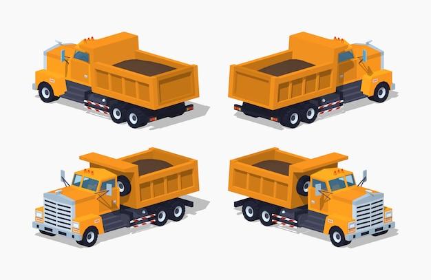 Geladener orange-3d-lowpoly-isometriekipper