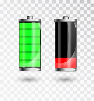 Geladener und schwacher akku. akku voll aufladen. batterieladestatusanzeige.