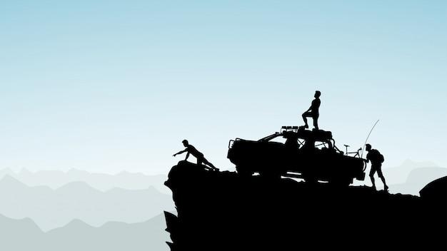 Geländewagen in den bergen