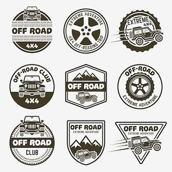 Geländewagen-set mit monochromen etiketten, emblemen oder abzeichen