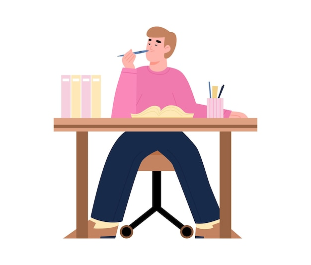 Gelangweilte faule müde büroangestellte oder studentenillustration