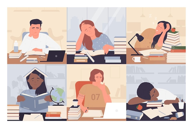 Gelangweilte studenten studieren vektorillustrationssatz. karikatur junge erschöpfte frau mann student charaktere sitzen auf schreibtisch mit büchern, während studieren langweilig und hausaufgaben machen, frustrierte menschen arbeiten