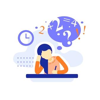 Gelangweilte studentin am schreibtisch macht hausaufgaben, schwierige aufgaben, schreibt oder denkt über aufgabe, bildungskonzept, gelangweilte teenager-lernende