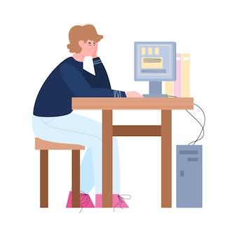 Gelangweilter fauler oder müder männlicher büroangestellter, der an seinem schreibtisch eine illustration arbeitet