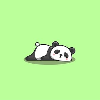 Gelangweilter panda. netter kawaii hand gezeichneter gekritzel gelangweilt fauler panda