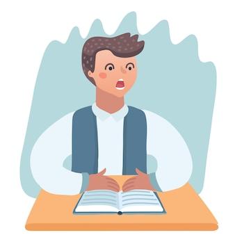 Gelangweiltes kind macht hausaufgaben oder sitzt auf langweiliger schulstunde süße cartoon-vektor-illustration