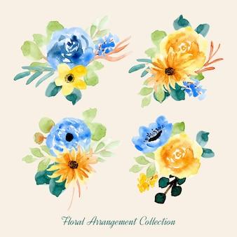 Gelb blau Aquarell Blumenarrangementsammlung