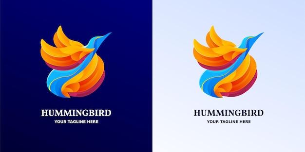 Gelb, blau und lila gradientenvogel geformtes logo-symbol oder symbolvektordesign
