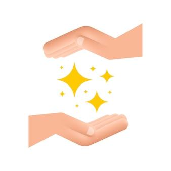 Gelb funkelt symbole in den händen der satz der ursprünglichen vektorsterne funkelt symbol helles feuerwerk