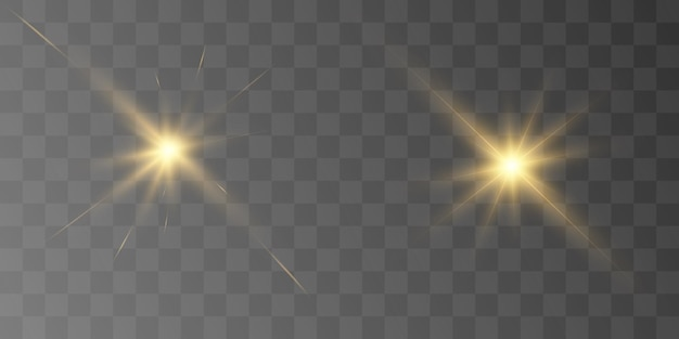 Gelb leuchtende lichtexplosion mit transparenter vektorillustration für coole effektdekoration