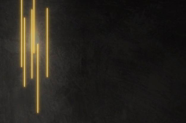 Gelb leuchtende linien auf schwarzem hintergrund