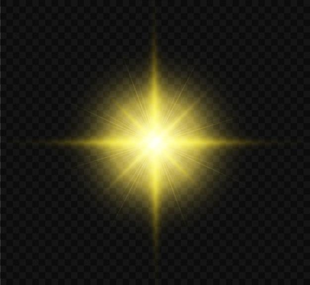 Gelb leuchtender lichteffekt mit hellen strahlen. der stern explodierte mit funkeln und glanzlichtern. illustration.