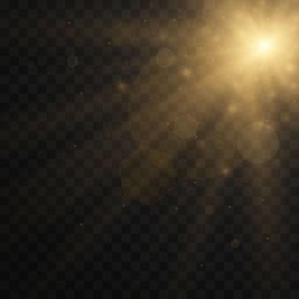 Gelb leuchtendes licht explosion auf transparent platzen