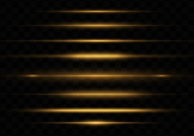 Gelb leuchtendes licht, horizontaler blendenfleck-pack