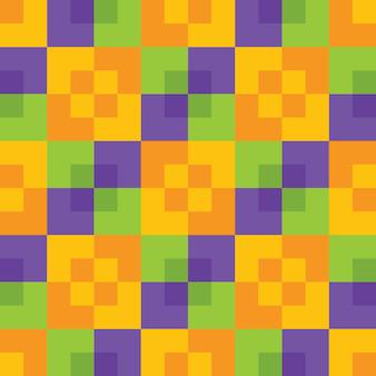 Gelb-orange-grünes und purpurrotes helles buntes halloween färbt nahtloses muster des quadratischen checkers. geometrischer abstrakter hintergrund. festliche fliesen hintergrundtapete. vektor.