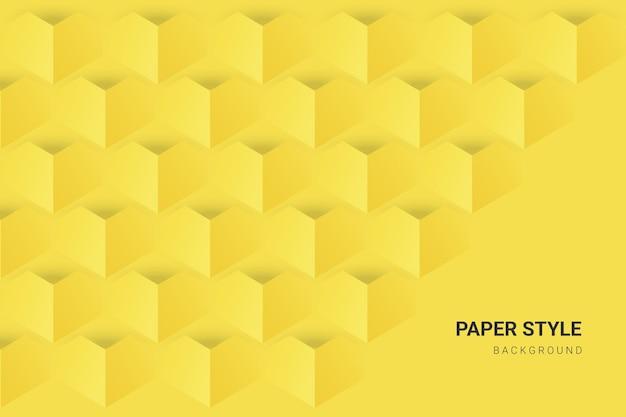 Gelb und grau in tapete im papierstil