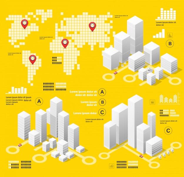 Gelbe abbildung infografiken