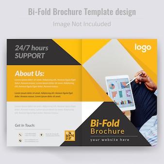 Gelbe abstrakte bi falte broschüren-schablone
