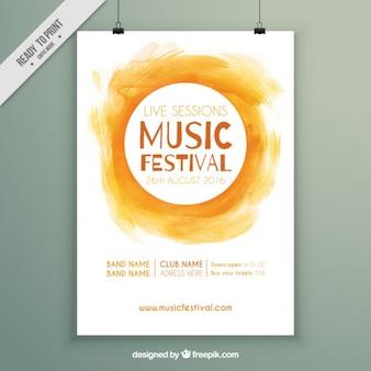 Gelbe aquarell-festival-plakat