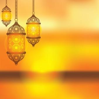 Gelbe arabischen laterne hintergrund