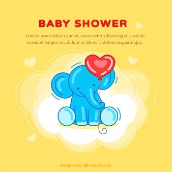 Gelbe baby-dusche-karte mit einem elefanten