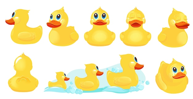 Gelbe badeente. gummi wasserspielzeug für kinder duschraum spiele mit ente niedlichen zeichen. gelbe badeente, wassertierspielzeugillustration