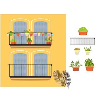 Gelbe balkone und pflanzen