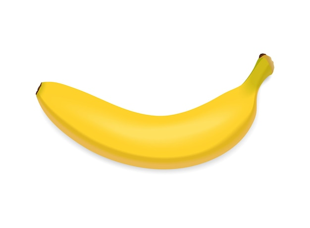 Gelbe banane isoliert auf weißem hintergrund. frischer snack, gesundes lebensmittelkonzept. nahaufnahme vektor 3d-darstellung