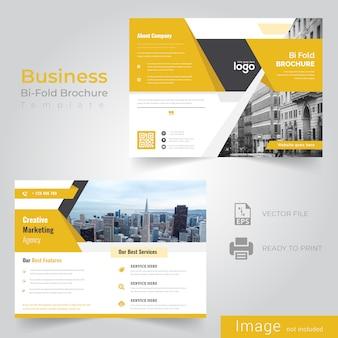 Gelbe bi-fold broschüre design