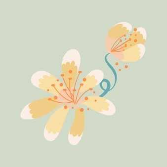 Gelbe blume, frühlingsclipart-vektorillustration