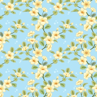 Gelbe blumen auf blauem hintergrund für textilien, stoff, baumwollstoff, abdeckung, tapete,