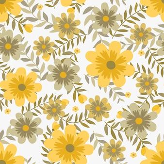 Gelbe blumen des sommers winden efeuart mit niederlassung und blättern, nahtloses muster