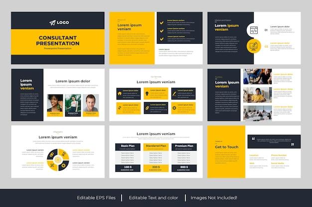Gelbe business-powerpoint-präsentationsvorlage